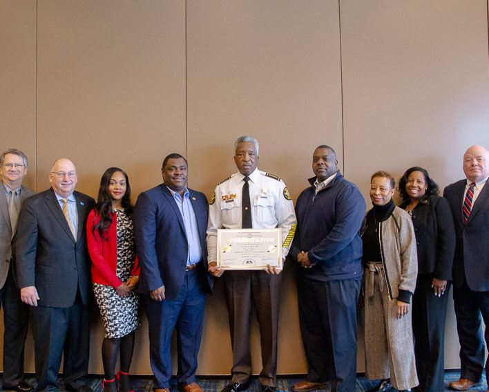 Image of Newton County Sheriff Ezell Brown holds the 2018 ACA Accreditation
