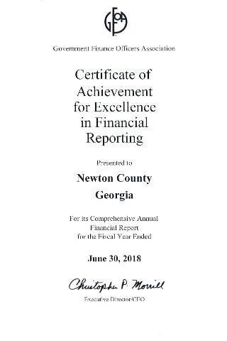 Image of GFOA Certificate of Achievement for Excellence in Financial Reporting FY18 Award Only news